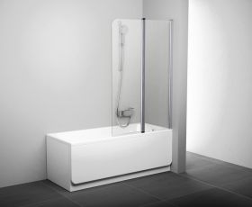 Шторка на ванну Ravak CVS2-100 L/R блестящий+транспарент
